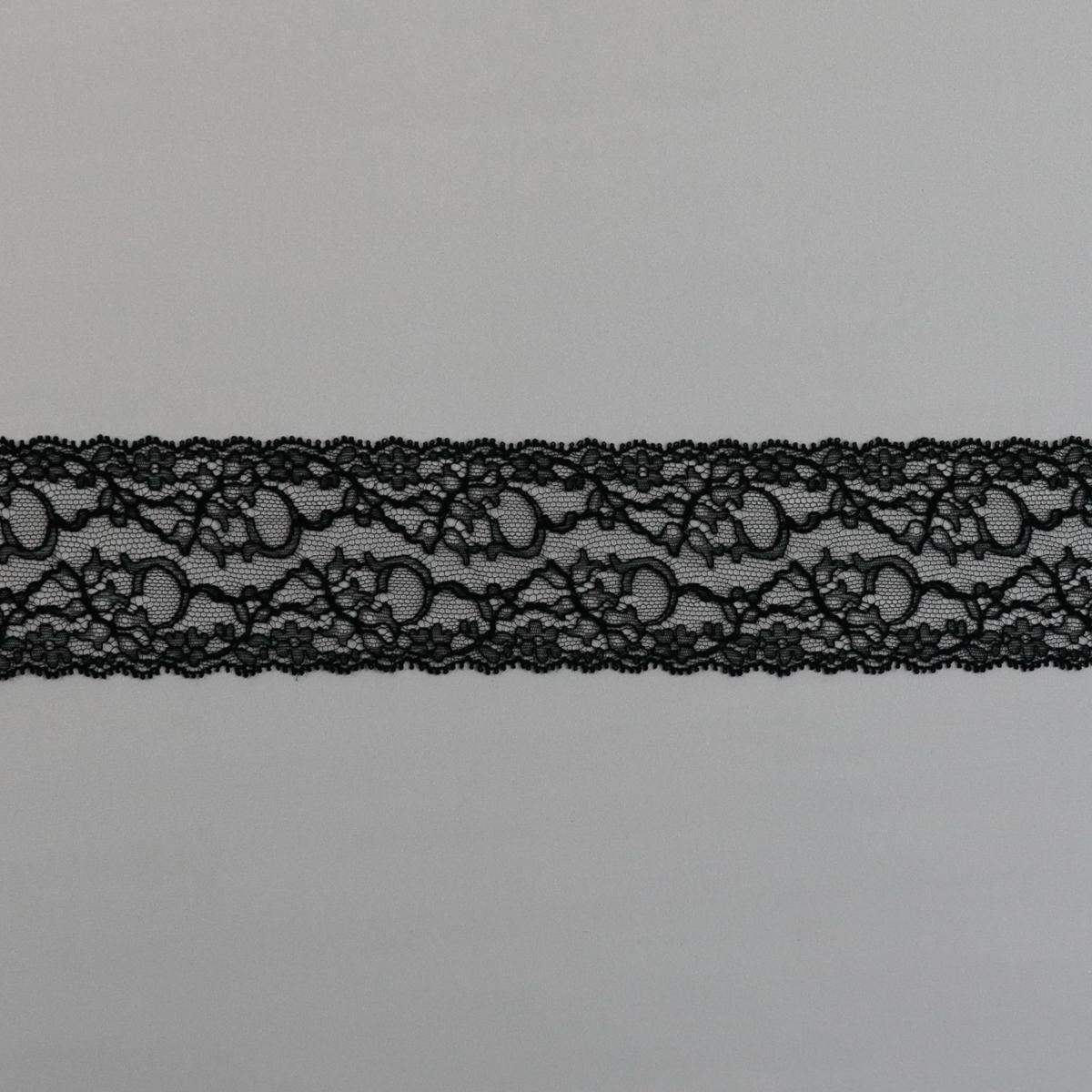 """Французская ажурная лента """"Шантильи"""" чёрного цвета"""