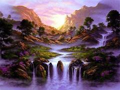 Алмазная Мозаика 40x50 Водопад в фиолетовых тонах