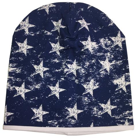 Стильная летняя хлопковая шапочка бини с принтом Белые звезды на синем фоне