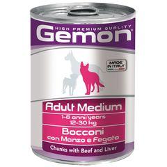Консервы для собак Gemon Dog Medium кусочки говядины с печенью