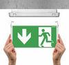 Монтаж эвакуационного табло к световому указателю EXIT S