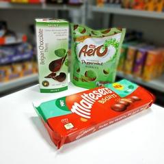 Шоколадные чипсы Belgian Chocolate Thins Mint 80 гр