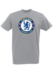 Футболка с принтом FC Chelsea (ФК Челси) серая 002