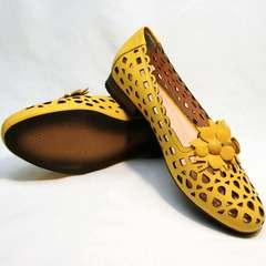 Кожаные босоножки туфли под джинсы женские Phany 103-28 Yellow.