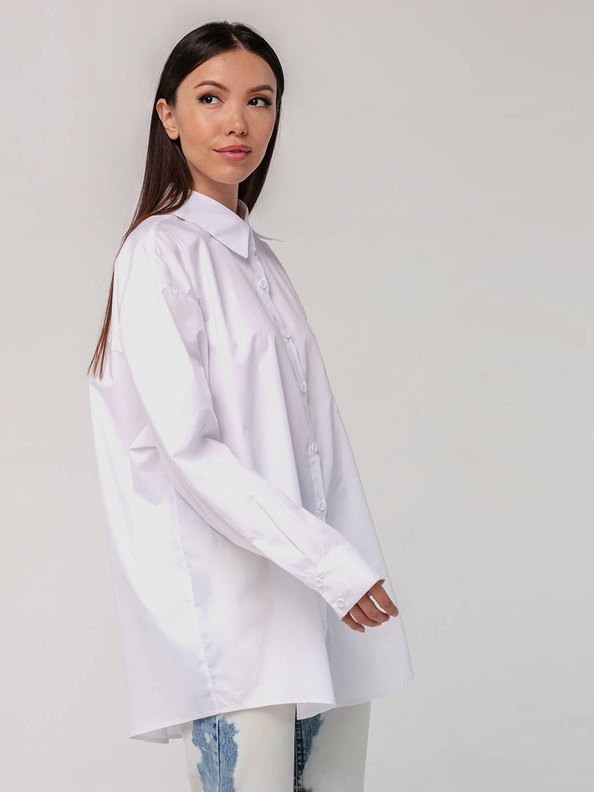 Хлопковая рубашка бойфренда белая с длинными рукавами YOS