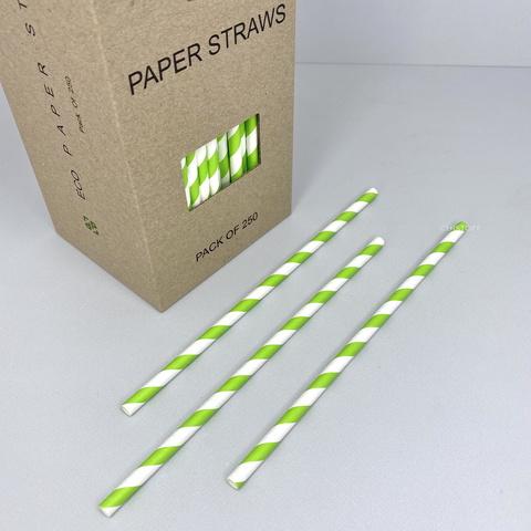 Трубочки бумажные (250 шт.) белые с зелеными полосками