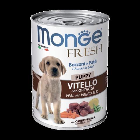 Monge Dog Fresh Chunks in Loaf Консервы для щенков мясной рулет из телятины с овощами (банка)