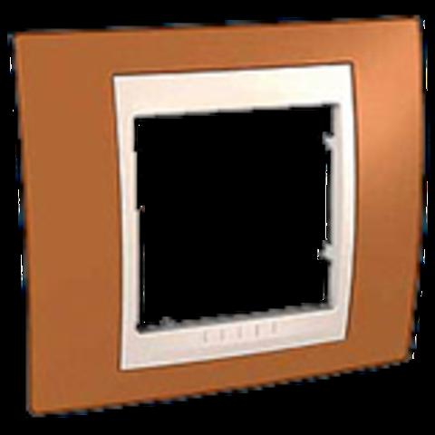 Рамка на 1 пост. Цвет Оранжевый/Бежевый. Schneider electric Unica Хамелеон. MGU6.002.569