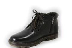 Коричневые зимние ботинки из натуральной кожи на молнии