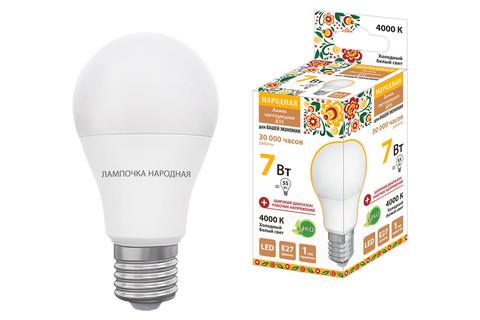 Лампа светодиодная НЛ-LED-A55-7 Вт-230 В-4000 К-Е27, (55х98 мм), Народная