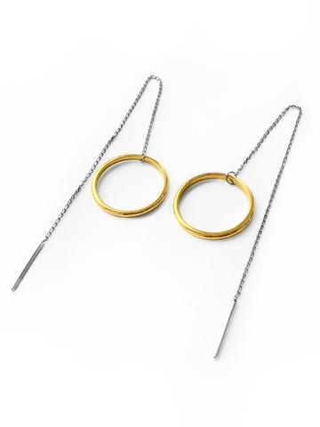 Серебряные серьги-продевки с позолоченным кольцом 20 мм