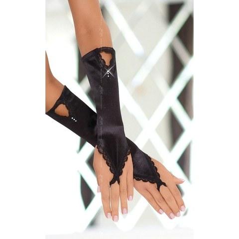 Сатиновые перчатки с кристалликами черные