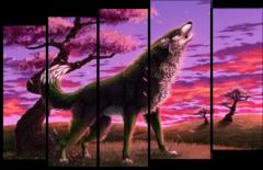 """Модульная картина """"Волк на закате"""""""