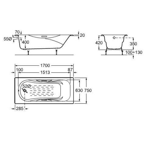 ванна  чугунная Roca MALIBU  /170х75/ (бел)