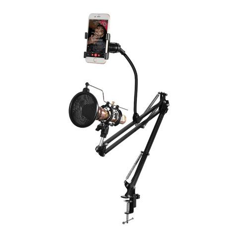 Стойка Пантограф для микрофона с поп фильтром и держателем для телефона