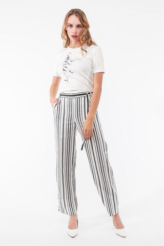 Фото летние белые брюки в серую полоску с карманами и поясом - Брюки А503-147 (1)