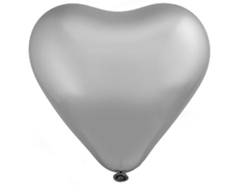 Воздушный шар сердце Хром серебро