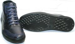 Кожаные полуботинки на толстой подошве осень зима мужские Luciano Bellini BC2802 L Blue.