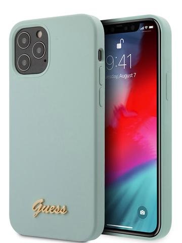 Чехол Guess для iPhone 12/12 Pro | золотой логотип силикон голубой