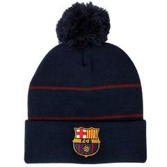 Вязаная шапка с помпоном с логотипом  ФК Барселона (Barcelona)