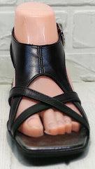Кожаные сандалии босоножки черные женские Evromoda 166606 Black Leather.