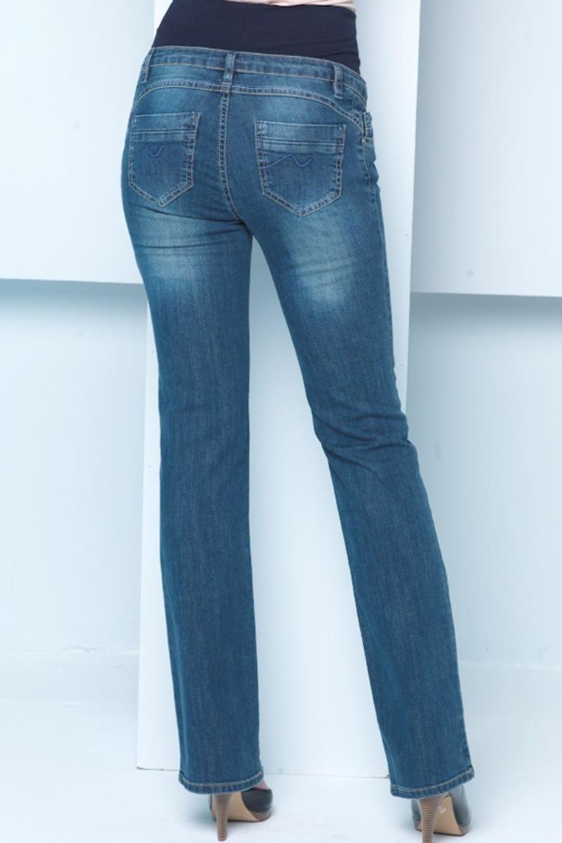Фото джинсы для беременных EBRU, расклешенные к низу, широкий бандаж от магазина СкороМама, синий, размеры.