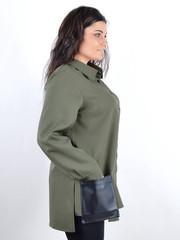 Ріана. Жіноча сорочка з шкірою plus size. Оливка.