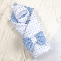 СуперМамкет. Конверт-одеяло с бантом и шапочкой Звездочки голубой вид 1