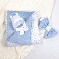 СуперМамкет. Конверт-одеяло с бантом и шапочкой Звездочки голубой вид 2