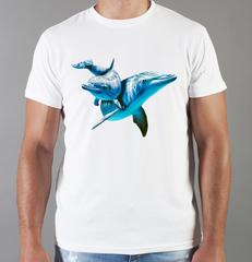 Футболка с принтом Дельфин (Море, Океан, волны) белая 001