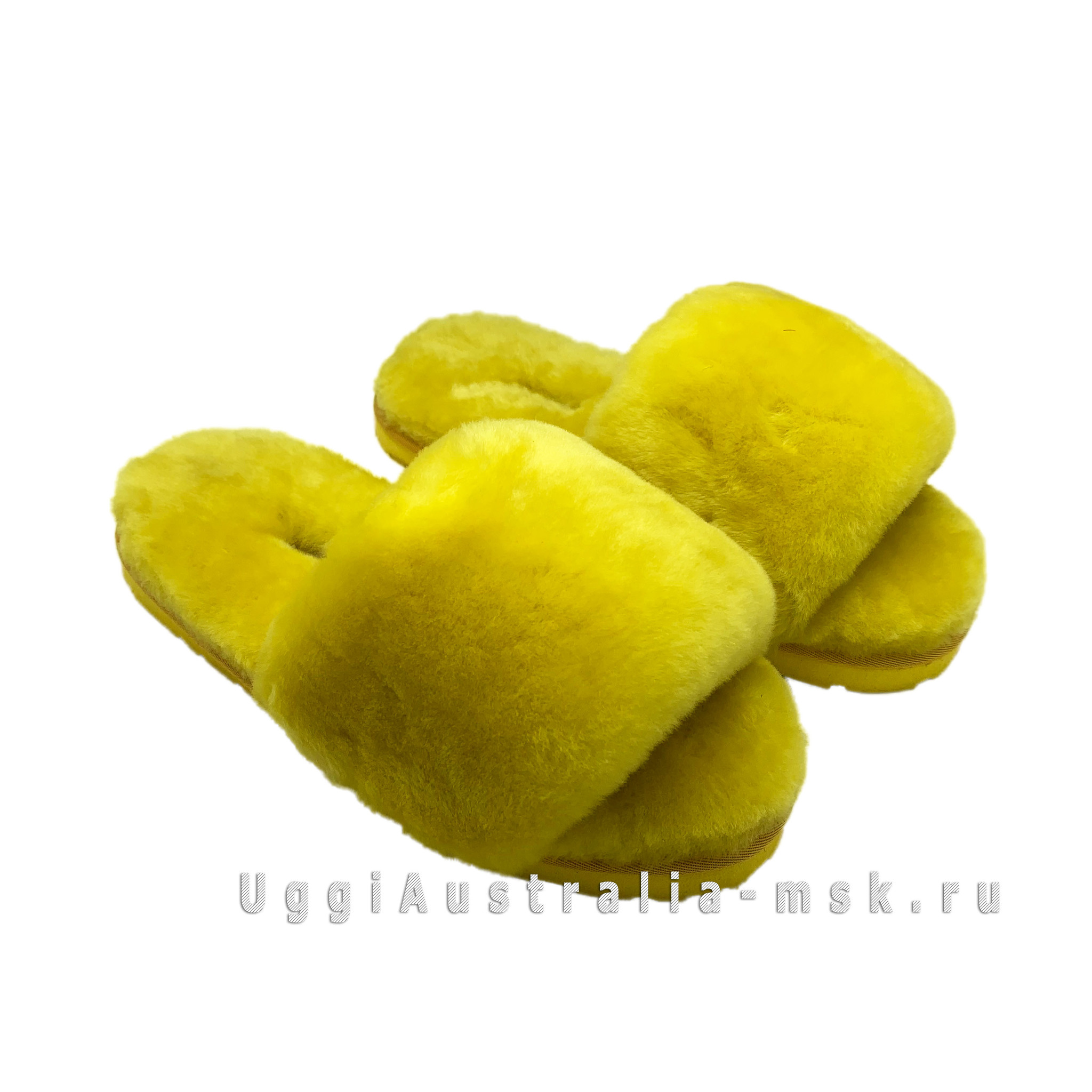 UGG FLUFF SLIDE SLIPPERS YELLOW