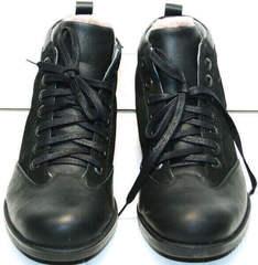 Мужские зимние ботинки на шнуровке Luciano Bellini 6057-58K Black Leathers & Nubuk.