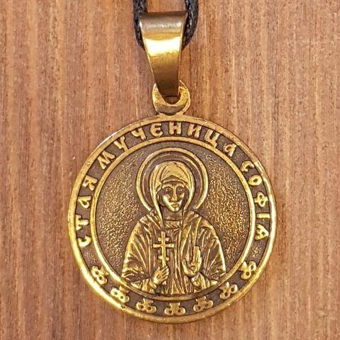 Святая София именная нательная икона из бронзы кулон с молитвой