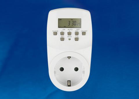 UST-E20 WHITE Таймер электронный с розеткой, 220В. 24ч. 1600Вт. Энергонезависимая память. ТМ Uniel.