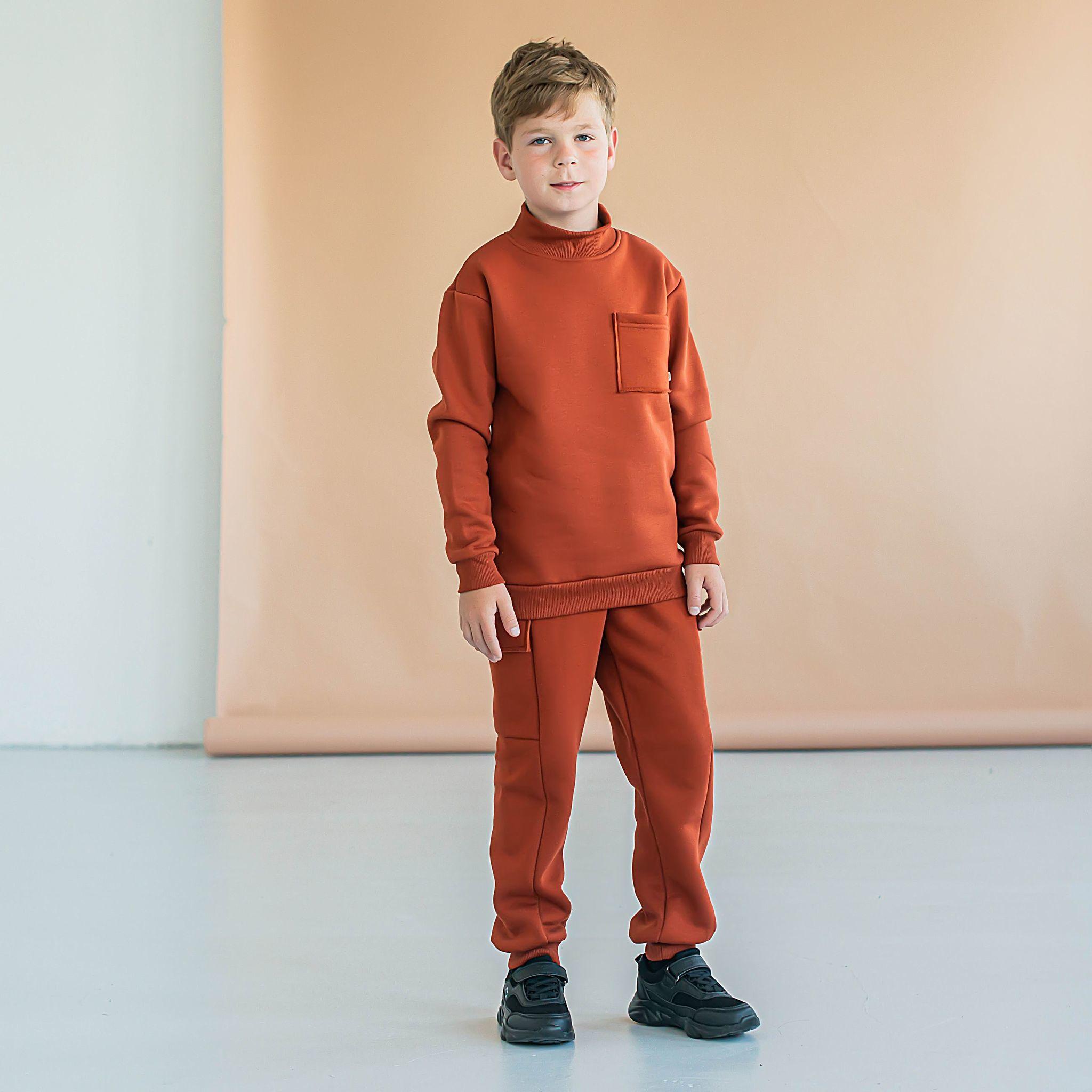 Warm oversized sweatsuit for teens - Terracotta