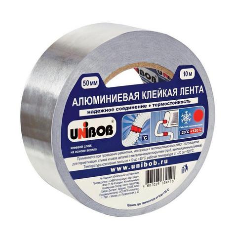 Клейкая лента алюминиевая Unibob серая 50 мм x 10 м толщина 70 мкм
