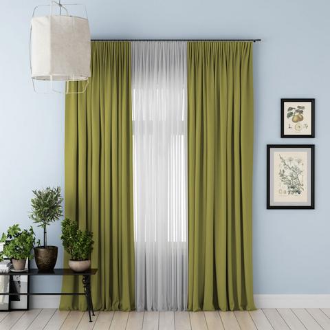 Комплект штор и тюль Джина блэкаут зеленый