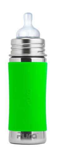 Детская стальная бутылочка для кормления Pura Kiki 325 мл (3 мес+) (зеленый)
