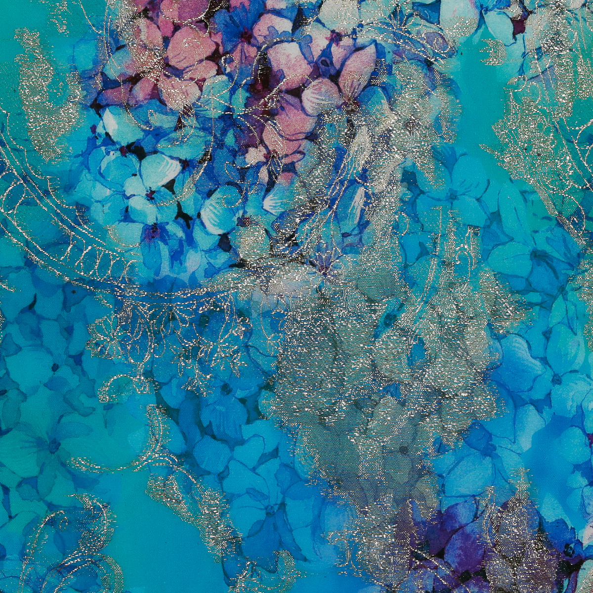 Хлопковый жаккард с металлизированными нитями синие гортензии