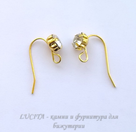 Швензы - крючки со стразом, 20 мм (цвет - золото), пара ()