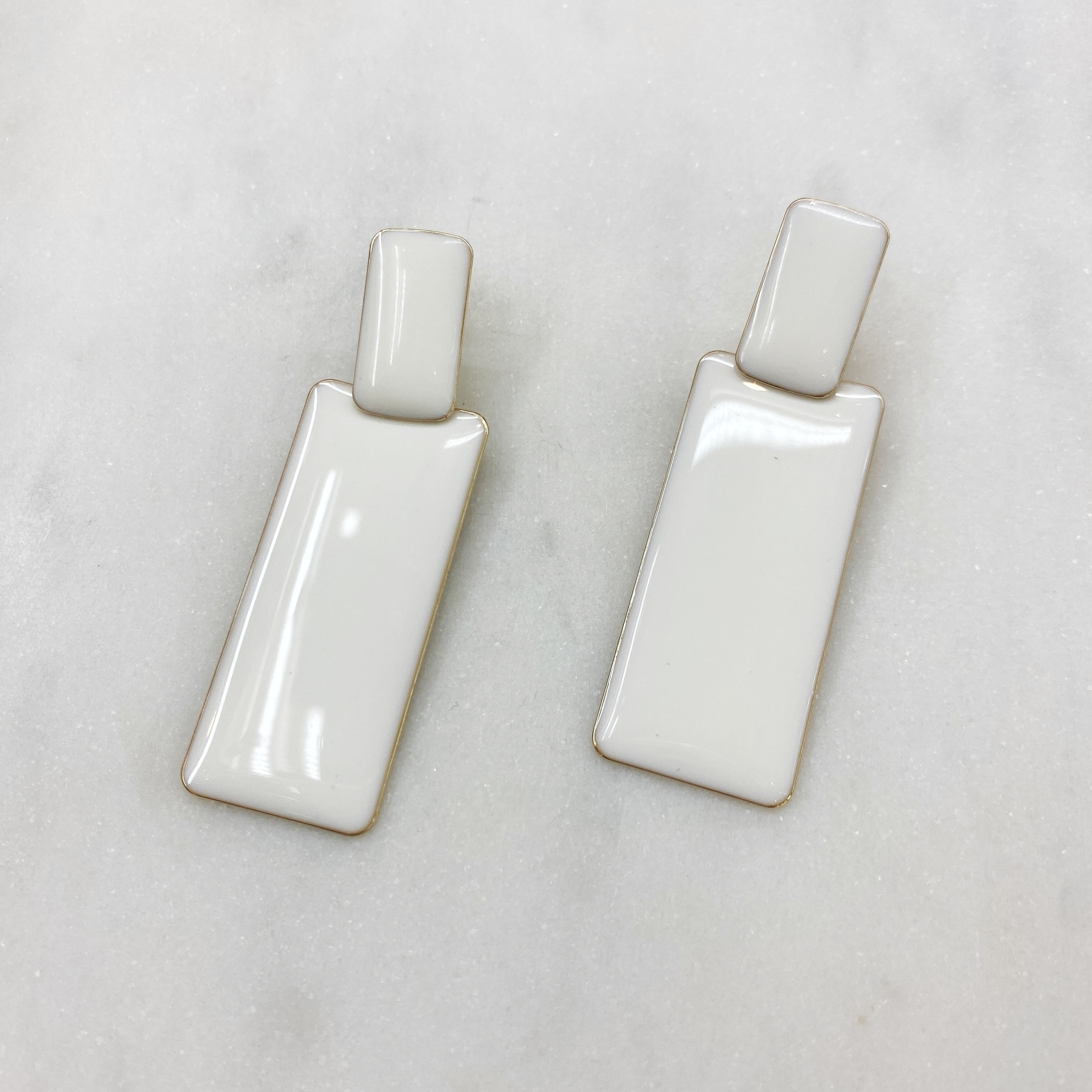Серьги Прямоугольники эмаль ш925 (белый)