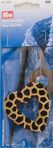 Застёжка декоративная Prym, деревянная, коричневая с золотистым, в виде сердечка, 417750