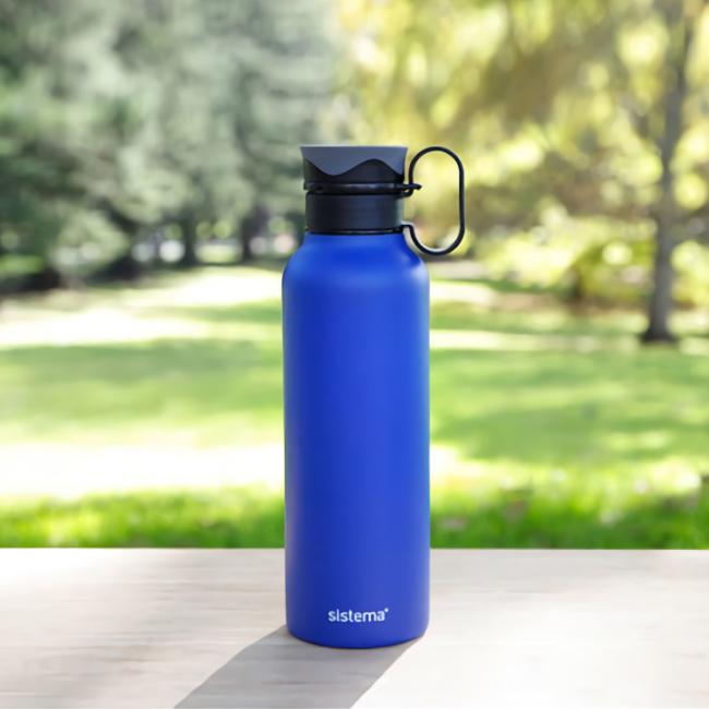 "Термобутылка Sistema ""Hydrate"" с петелькой 600 мл, цвет Синий"