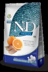 Корм для собак средних и крупных пород, Farmina N&D Fish & Orange Adult Medium/Maxi, с рыбой и апельсином