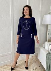 Кармен. Оригінальна сукня зі стразами pluse size. Синій