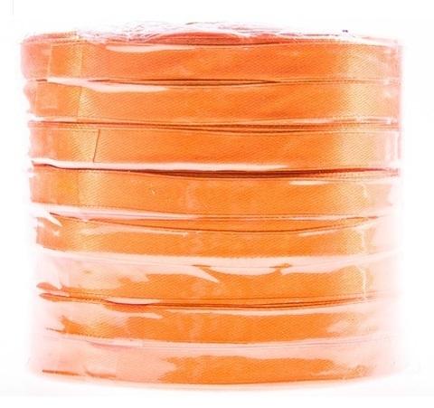 Лента атласная в уп. 8 шт. (размер: 10 мм х 50 ярд) Цвет: оранжевая-1