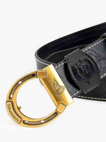 Ремень «Вольные кони» чёрного цвета
