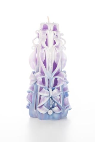 Свеча-резная ручной работы LACE VIOLET-L (кружева фиалки), h 16 см TM Aromatte