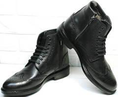 Высокие зимние  ботинки из натуральной кожи на шнуровке  LucianoBelliniBC3801L-Black .