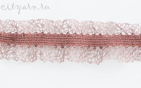 Кружево французское металлизированное на резинке, ширина 3 см, цвет розовый, D25052/0, цена за 50 см